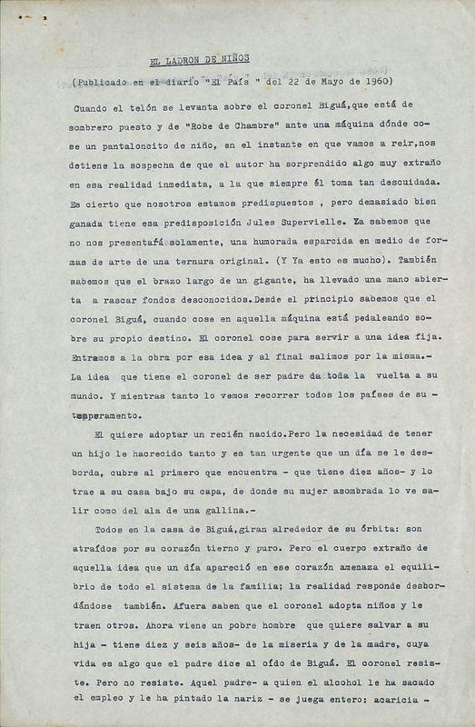 El ladrón de niños | Shelfnum : FH-CC-1960-05-22 | Page : 1 | Content : facsimile