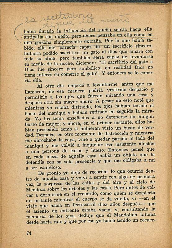 Tierras de la memoria | Shelfnum : FH-AA1-01 | Page : 74 | Content : facsimile
