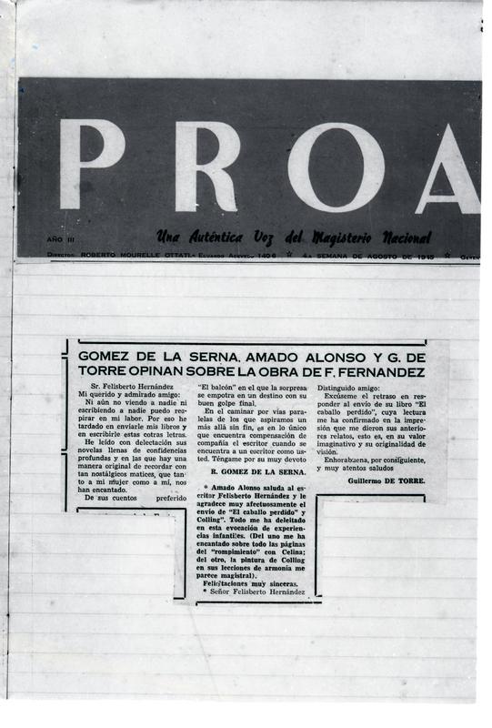 Gómez de la Serna, Amado Alonzo y G. de Torre opinan sobre la obra de F. Hernández | Shelfnum : FH-EB1-1945-08-00 | Content : facsimile