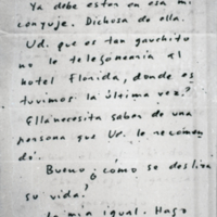 [Montevideo, octubre 9 de 1950. Ola vasco: Ya debe estar en esa mi conyuje.]]   Shelfnum : FH-B-1950-10-09