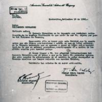 [Estimado señor: El Consejo Directivo se ha impuesto con verdadera satifacción] | Shelfnum : FH-B-1946-09-18 | Page : 1 | Content : facsimile