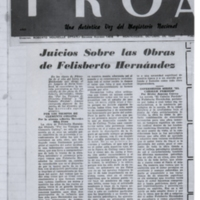 Juicios sobre las obras de Felisberto Hernández | Shelfnum : FH-EB1-1945-10-00 | Content : facsimile