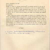[París, setiembre 6 de 1947. Mis queridos: Recibí tu carta mi adorada Calístoque] | Shelfnum : FH-B-1947-09-06 | Page : 1 | Content : facsimile